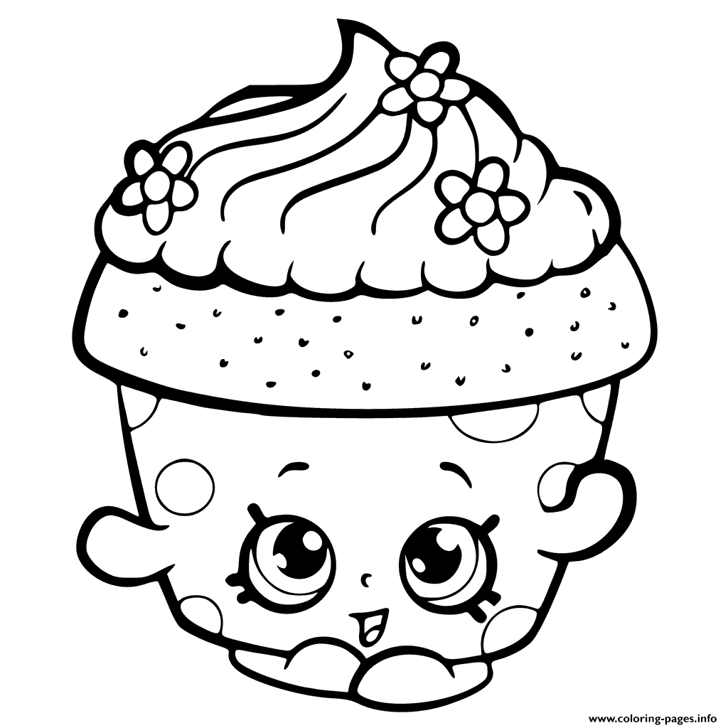 Cupcake Queen Shopkins Girls Coloring Pages