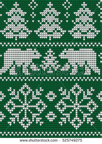 Knitted Christmas and New Year pattern | Жаккардовое вязание ...