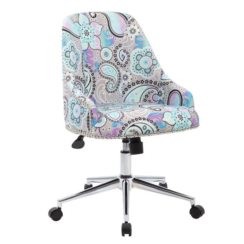 Grey & Blue Paisley Linen Guest/Office Chair W/ Silver