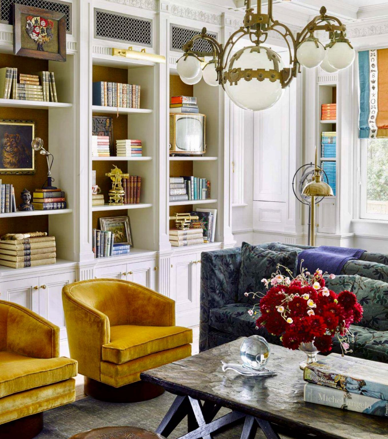 Library with mustard yellow chairs elle decor home