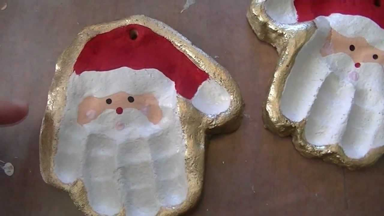 Santa hand ornament flour salt salt dough santa for Youtube lavoretti di natale