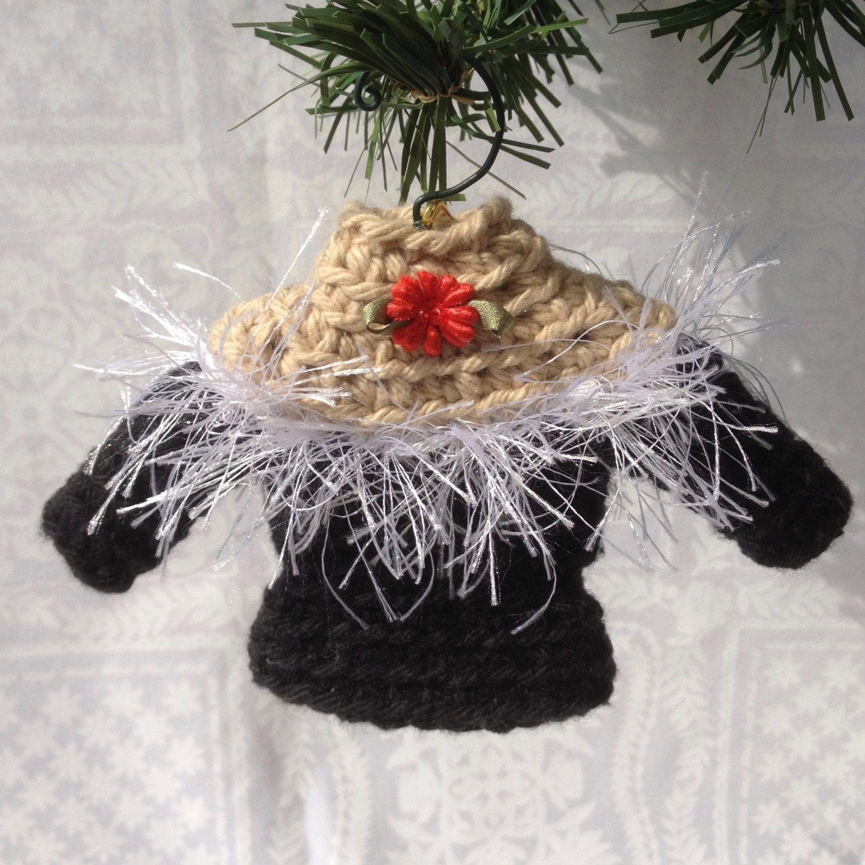 SALE Tiny Sweater Christmas Ornament, Miniature Crocheted ...