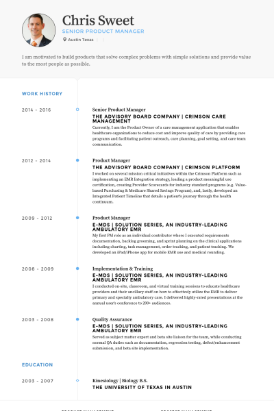 Product Management Resume Product Manager Exemple Work Experience Senior Prose Academic