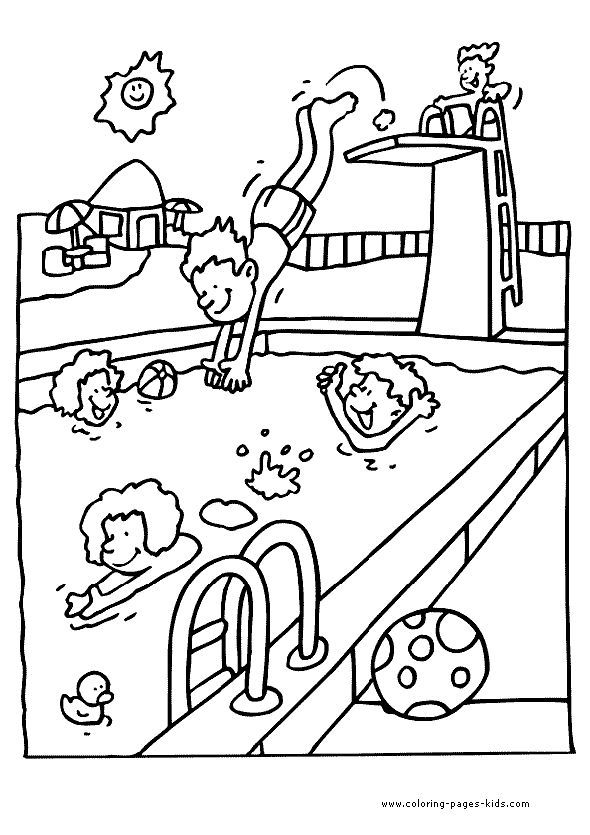Swimming pool coloring page for kids