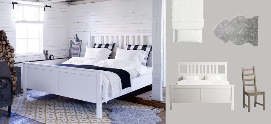 Biela posteľ HEMNES s bielymi obliečkami LINBLOMMA a sivou ovčou kožou LUDDE
