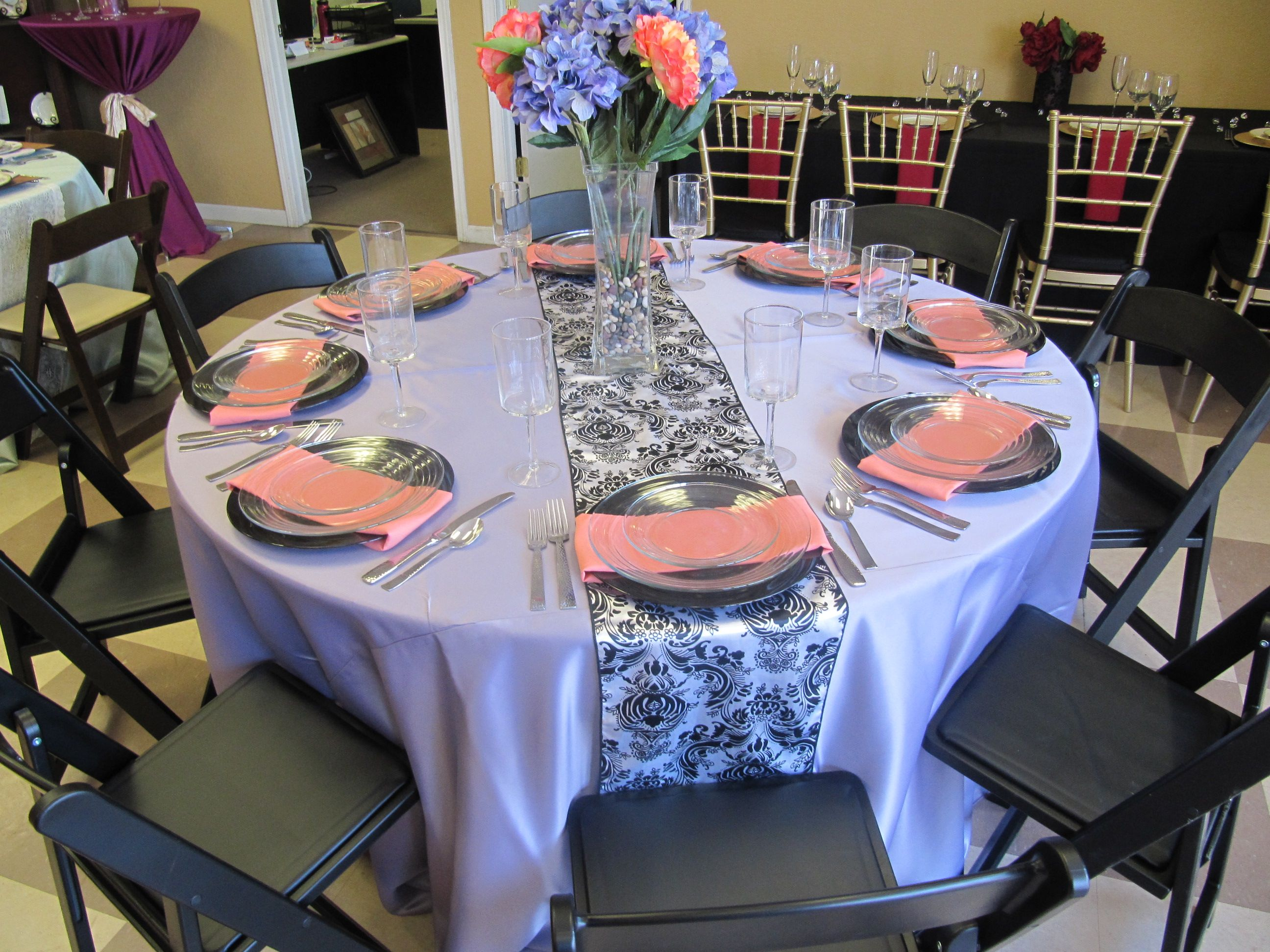 Victorian Lilac Lamour Linen, Henna Lamour Runner, Black Resin Chairs, Black  Chargers,