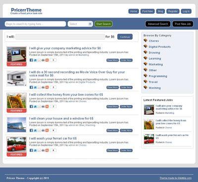 Pricerr Wordpress Theme For Fixed Small Price Auctions Chores Or Job Site Wordpress Theme Wordpress Theme Responsive Theme