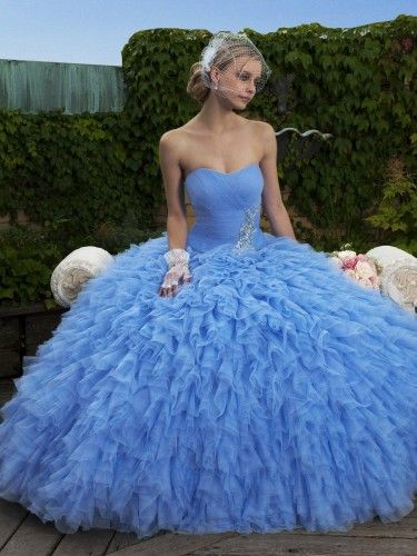 5244a0dad44 Iridescent Tulle Sweetheart Ball Gown Wedding Dress - Love the periwinkle  color!