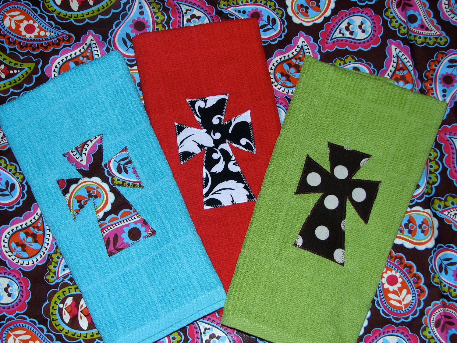 Kitchen towel with cross applique via etsy crafts