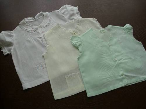2 Vintage Baby Girl Blouses Blue White Cotton Batiste Hand Made Philippines Mid Century Size 6 to 12 Months 62B