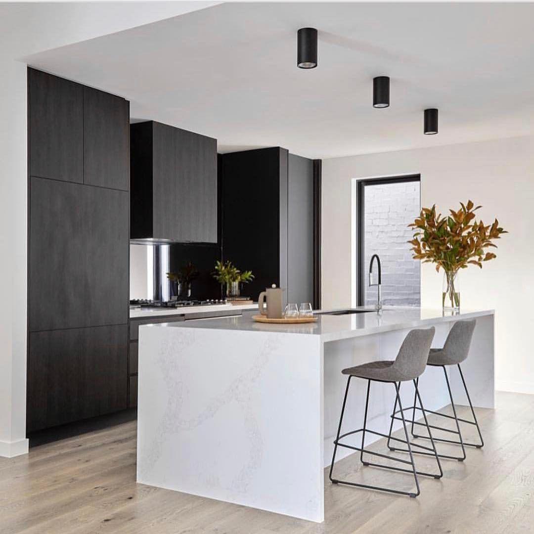 Monochrome kitchen magic by @sync_design Photo @jack.lovel Barstools ...
