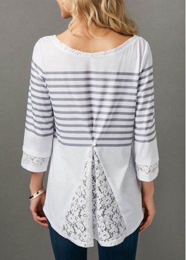 c0ae85ffd8f Round Neck Stripe Print Lace Panel Blouse on sale only US 31.11 now ...