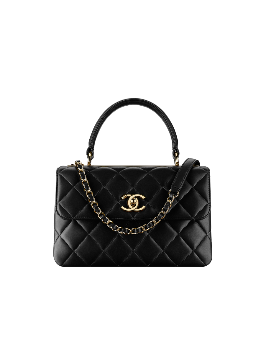 Flap Bag With Top Handle Lambskin Light Gold Metal Black Chanel