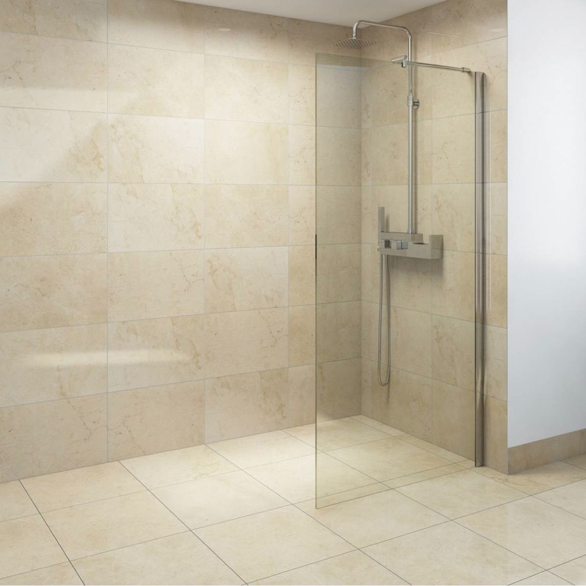 8mm Walk in Recess Shower Enclosure Pack 1600 X 900 with Shower Tray ...