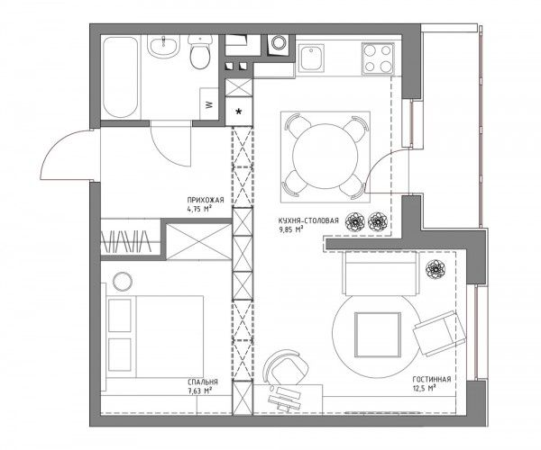Nice Living Small With Style: 2 Beautiful Small Apartment Plans Under 500 Square  Feet (50 Square Meters) Ideas