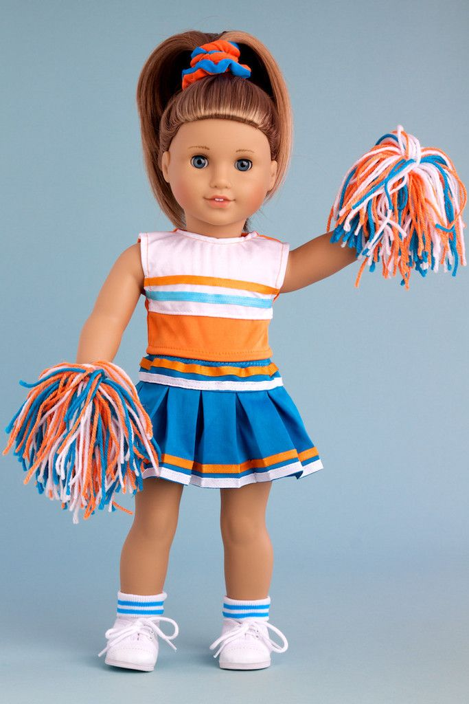 Cheerleader - Clothes for 18 inch Doll - 6 Piece Outfit - Blouse, Skirt, Headband, Pompons, Socks and Shoes #18inchcheerleaderclothes