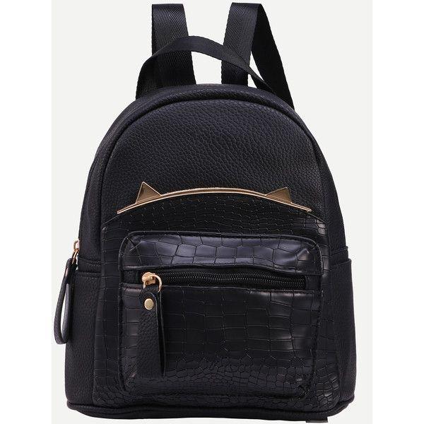 Black Crocodile Embossed Metal Trim Backpack (€12) ❤ liked on Polyvore featuring bags, backpacks, black, rucksack bags, pu backpack, knapsack bag, polyurethane bags and day pack backpack