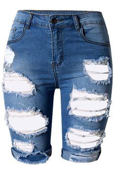 Dokotoo Womens Casual Denim Destroyed Bermuda Shorts Jeans Large ...