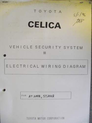 Toyota Celica Vehicle Security System Wiring Diagram Sheets 96 ... on security system test equipment, security system switches, security camera wiring accessories, security camera wiring types, pull station diagrams, security alarm window sensor wiring diagram, lighting diagrams, security system repair, security camera wiring diagram,