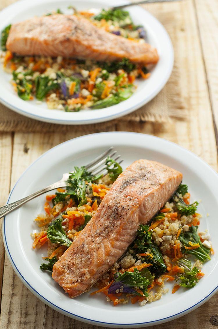 Skinny Salmon, Kale, Cashew Bowl