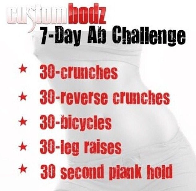 7 Day Ab Challenge With Images 7 Day Abs Ab Workout Challenge