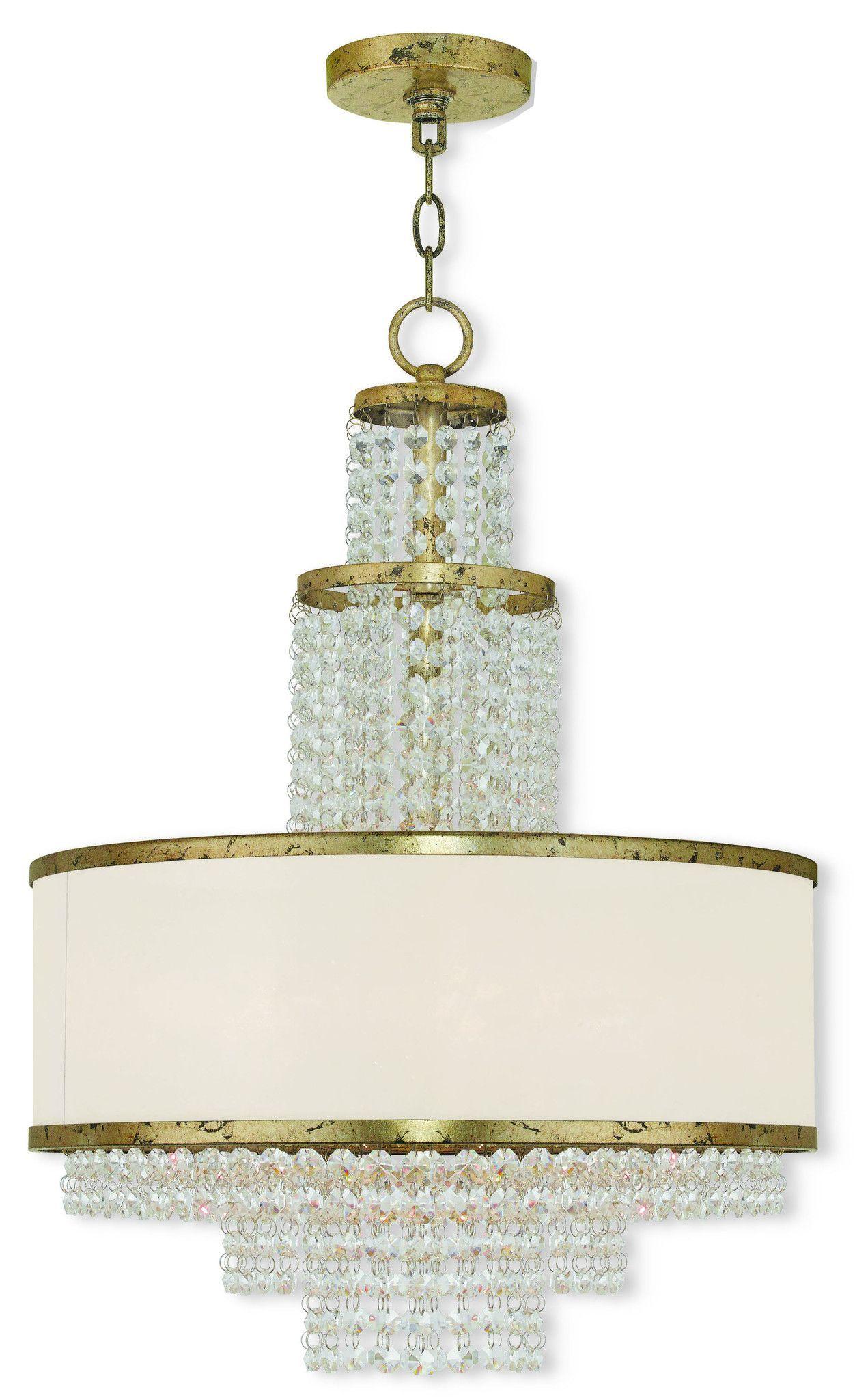 Livex Lighting Prescott Hand Applied Winter Gold Chandelier 50785-28
