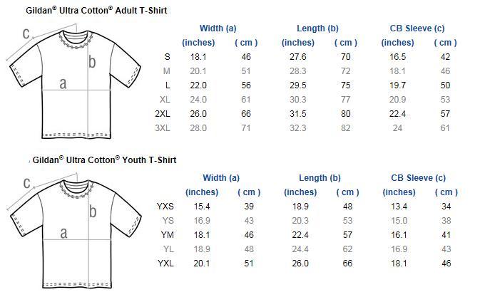 gildan ladies tee shirt size chart