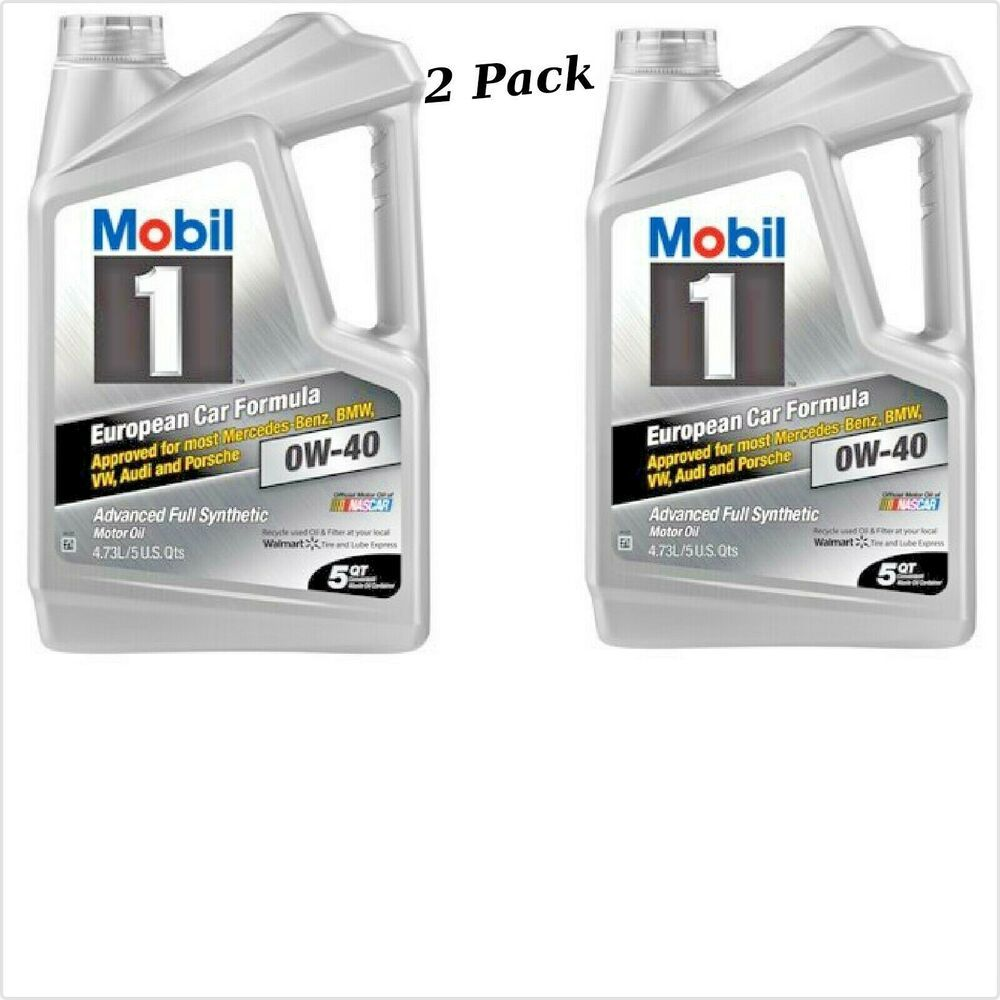 2 Pack New Mobil 1 Full Synthetic Motor Oil 0w 40 5 Quart European Formula Mobil Motor Oil Oils Ebay