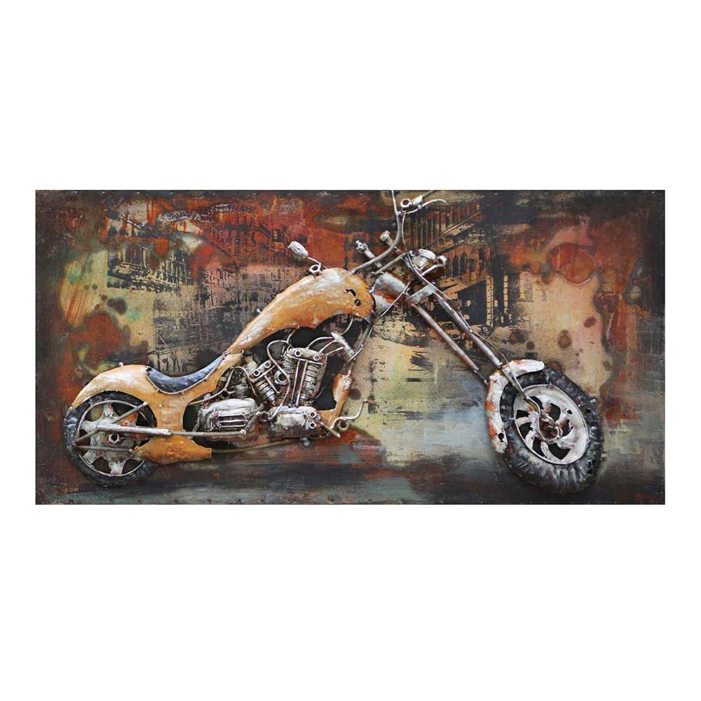 Einfache Dekoration Und Mobel Jetzt Wird Es Bunt Unter Der Dusche #29: Deko Metallbild Mit Motorrad Motiv Bunt Jetzt Bestellen Unter: Https:// Moebel.