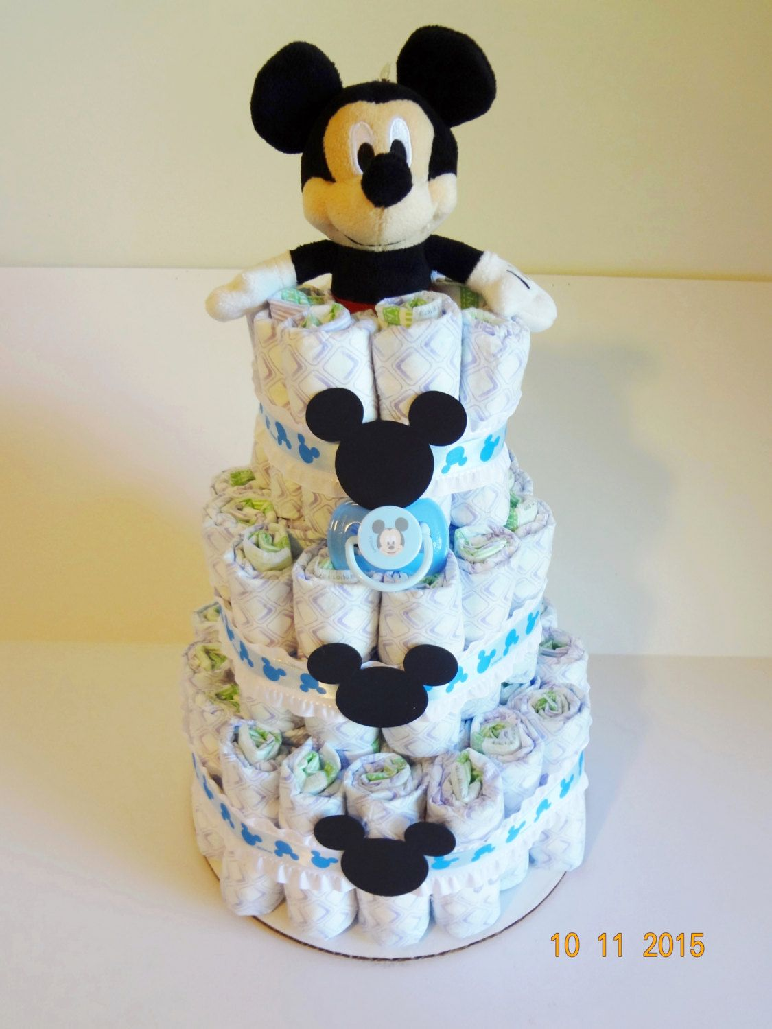 Diaper cake Mickey Mouse Inspired Boys Blue ribbon Double Ruffle Rattle Plush pacifier baby shower center & Diaper cake Mickey Mouse Inspired Boys Blue ribbon Double Ruffle ...