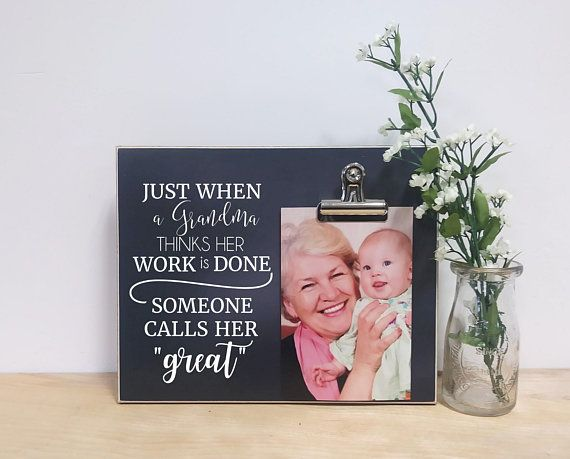 Grandma Photo Frame Gift For Great Birthday Baby Reveal To Grandparents Mothers Da