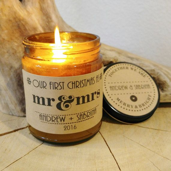 Our First Christmas Candle; Personalized Candle; Christmas Gift; Newlywed gift