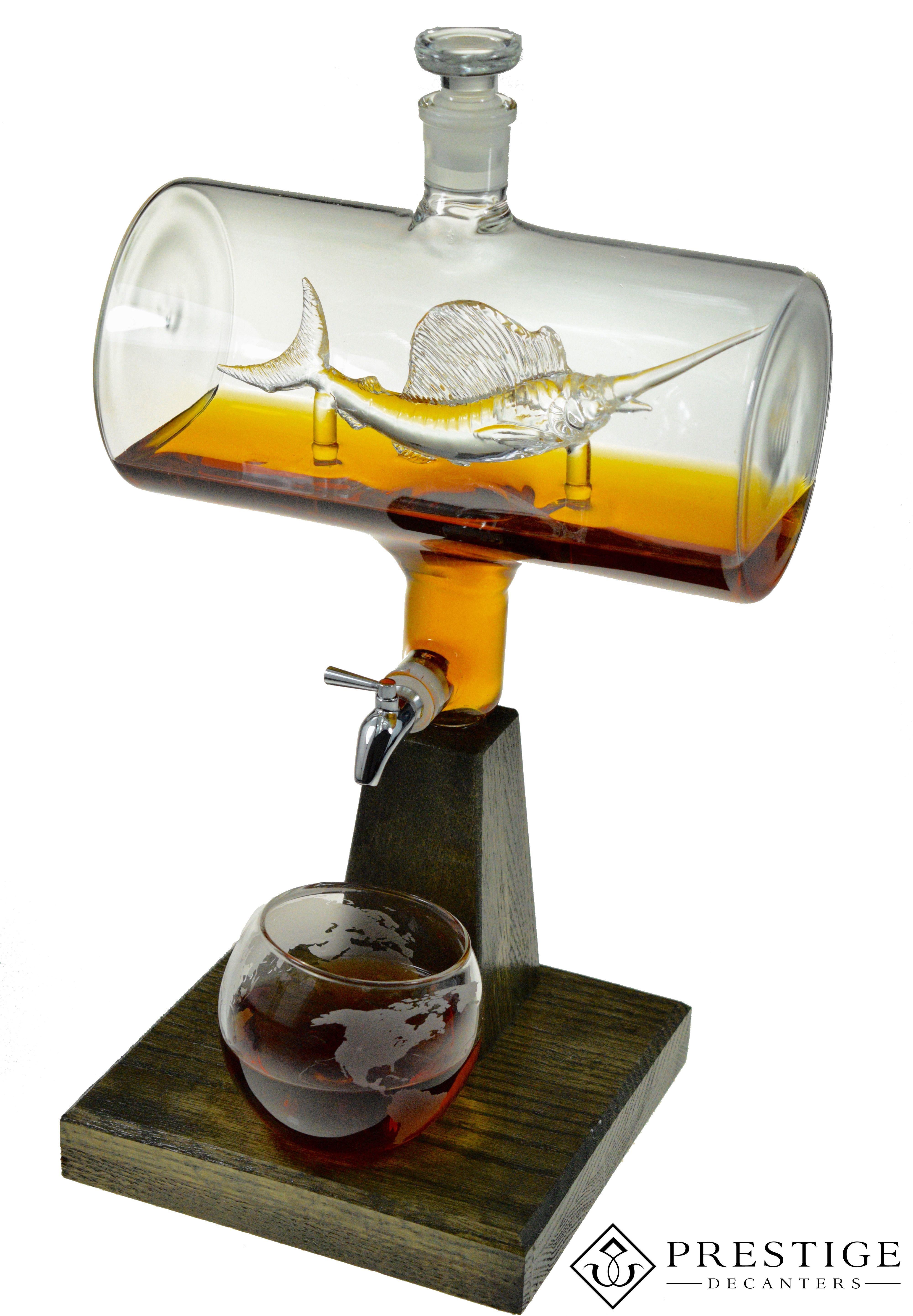 2500ml glass sailfish whiskey decanter gift for