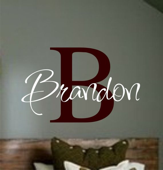 Personalized Childrens Decor Monogram Vinyl Wall Art Vinyl - Monogram vinyl wall decals for boys