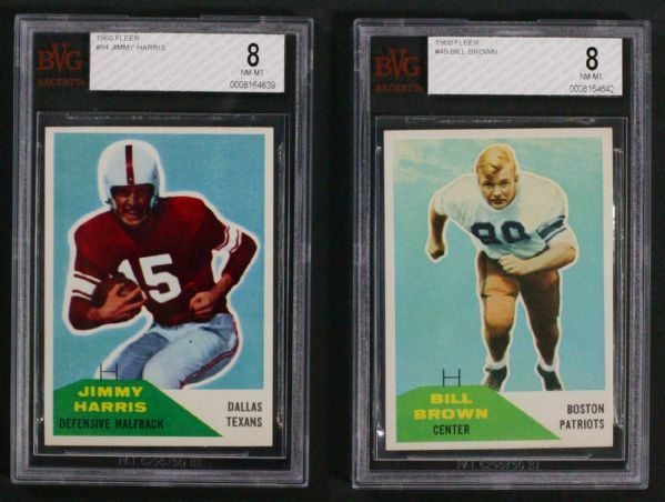 up4auction - 1960 Fleer Football BVG BGS Registry Lot of (4) BVG 8's w/Lou Saban, Jack Spikes, Bill Brown and Jimmy Harris