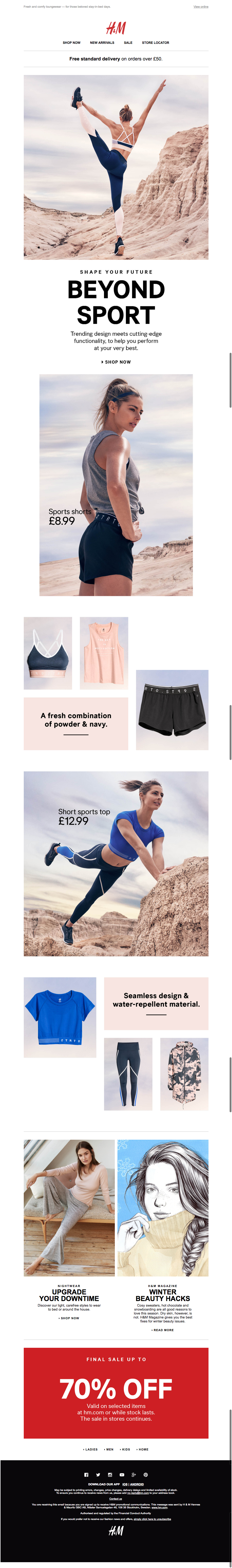 h and m beyond sport email 06.01.2017