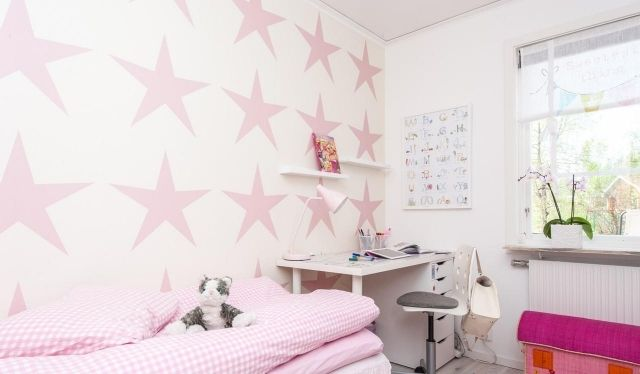 wandfarbe kinderzimmer m dchen rosa sterne deko. Black Bedroom Furniture Sets. Home Design Ideas