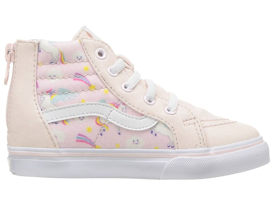 b4be8a9165 Vans Kids Sk8-Hi Zip (Infant Toddler) Girls Shoes (Glitter Pegasus)  Heavenly Pink True White