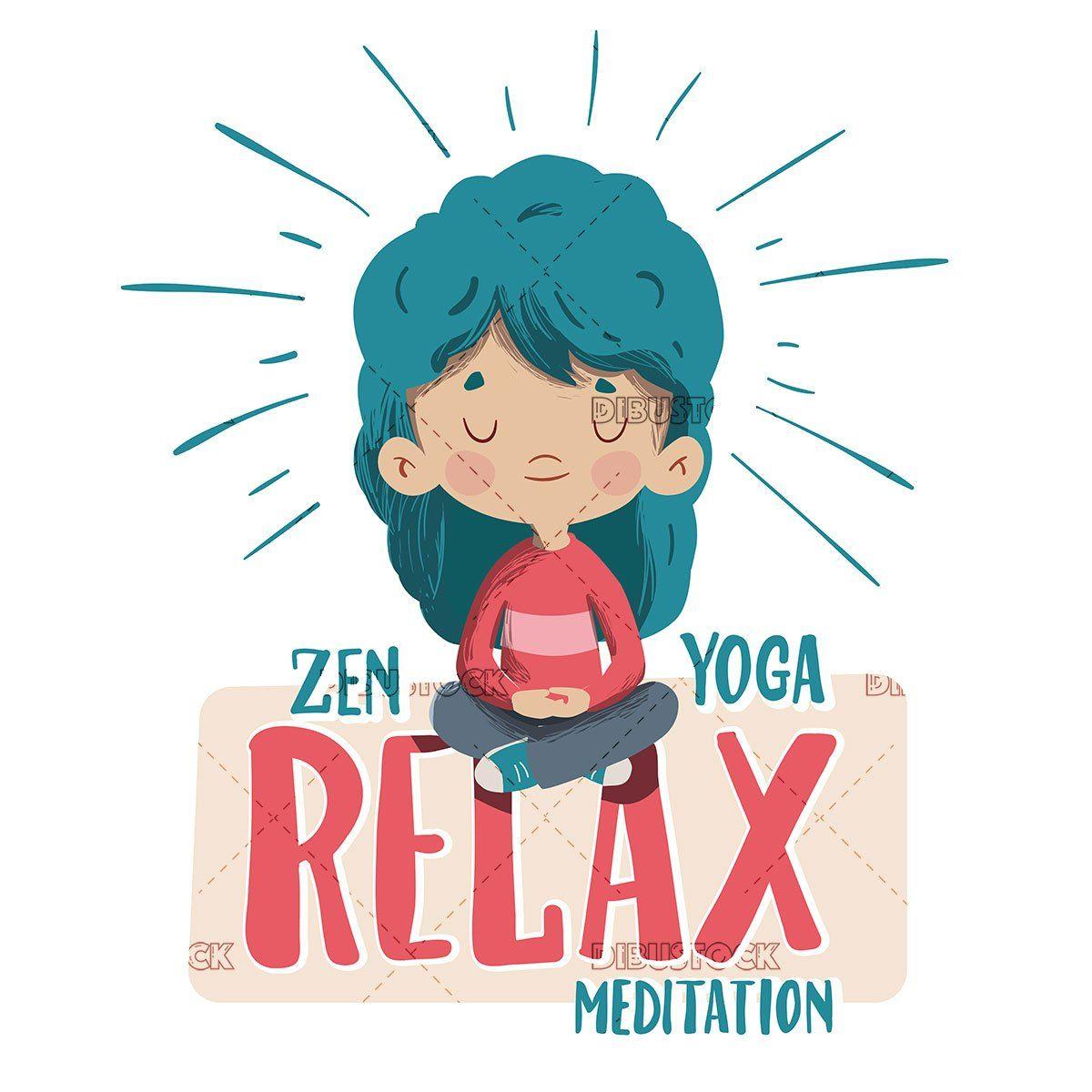 Girl Meditating Doing Yoga In