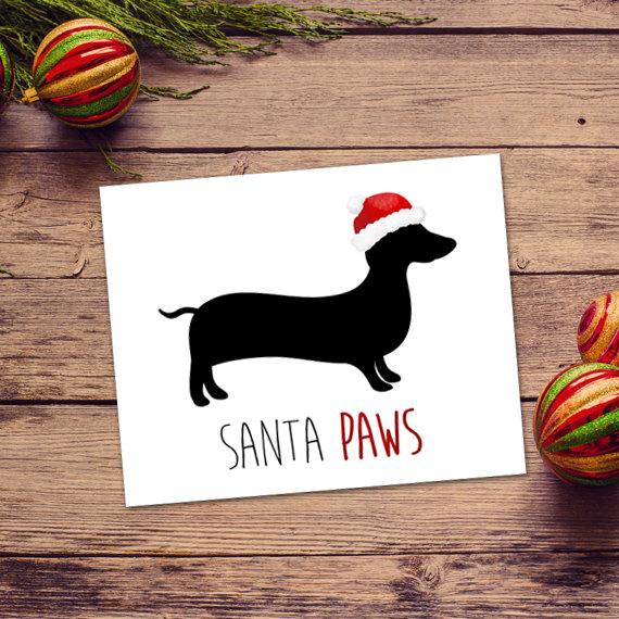 Dog Christmas Puns.Santa Paws Digital 8x10 Printable Poster Funny Merry
