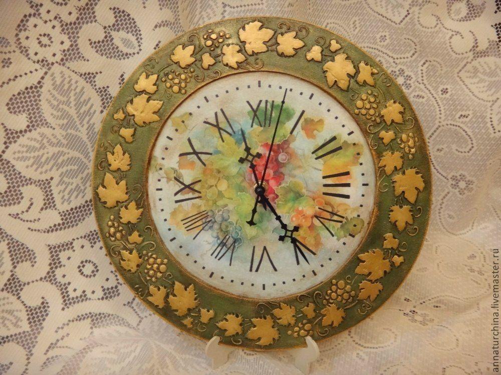 """Купить Часы """"Золотая лоза"""". - зелёный, часы, часы настенные, часы декупаж, для дома и интерьера"""