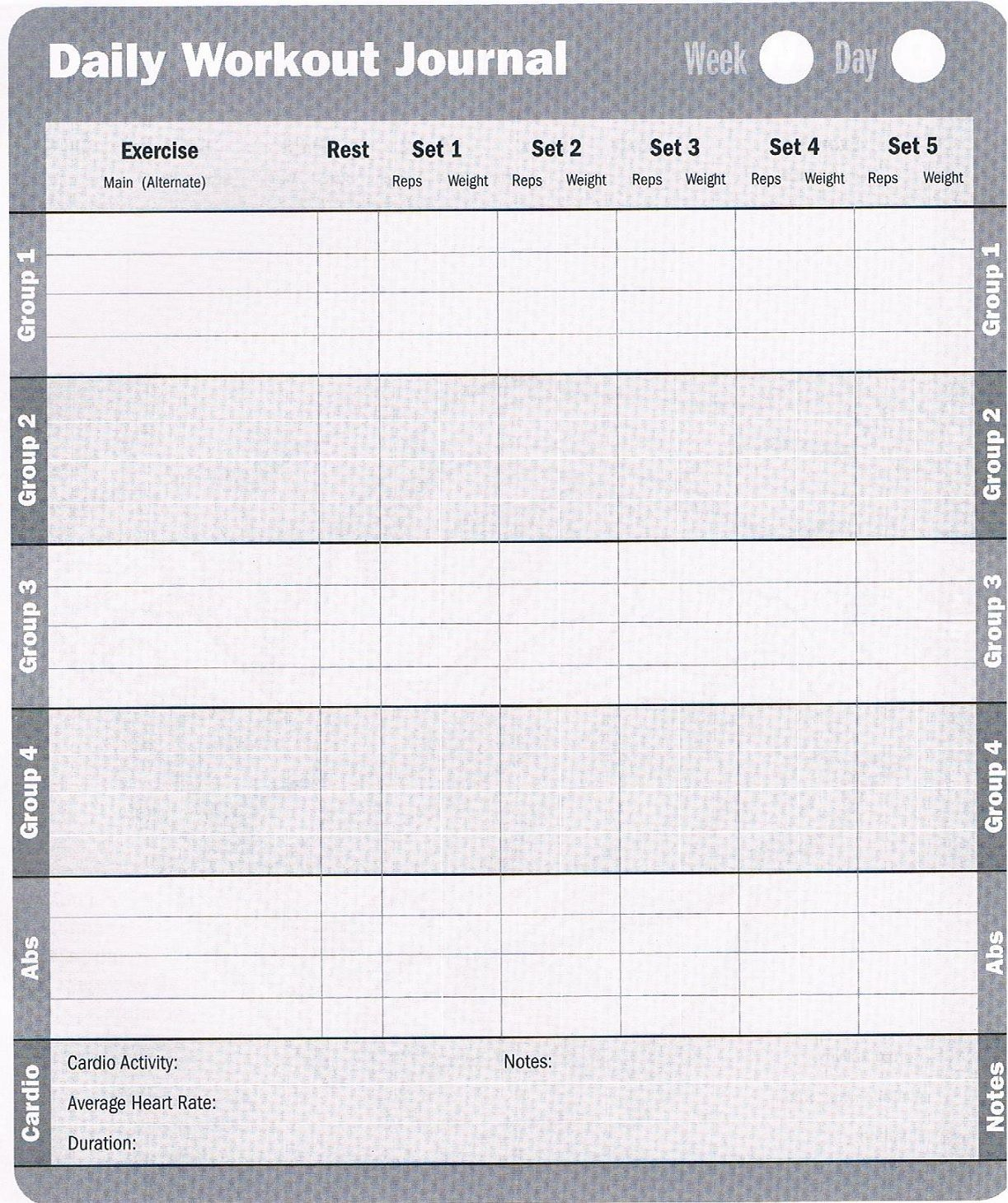 Workout Log Download these free printable workout logs to