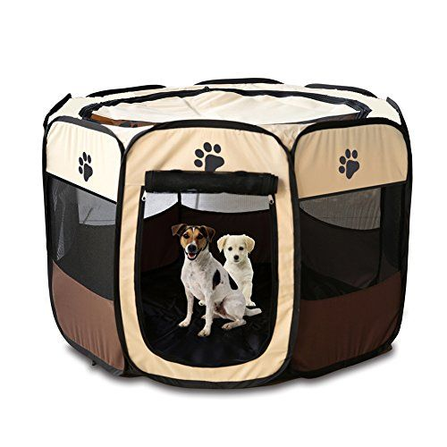 Qumy 35 Portable Pet Puppy Dog Cat Animal Playpen Yard Crates Kennel 600d Oxford Cloth Toolfree Setup Removable Security Mesh Covershade L 36 X 36 X Cat Playpen