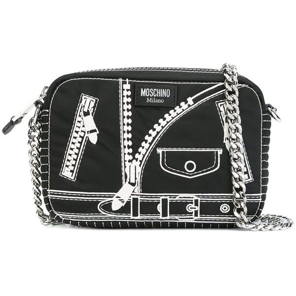 Moschino trompe-l'oeil shoulder bag ($495) ❤ liked on Polyvore featuring bags, handbags, shoulder bags, black, chain strap purse, embossed leather purse, real leather purses, chain-strap handbags and leather shoulder bag