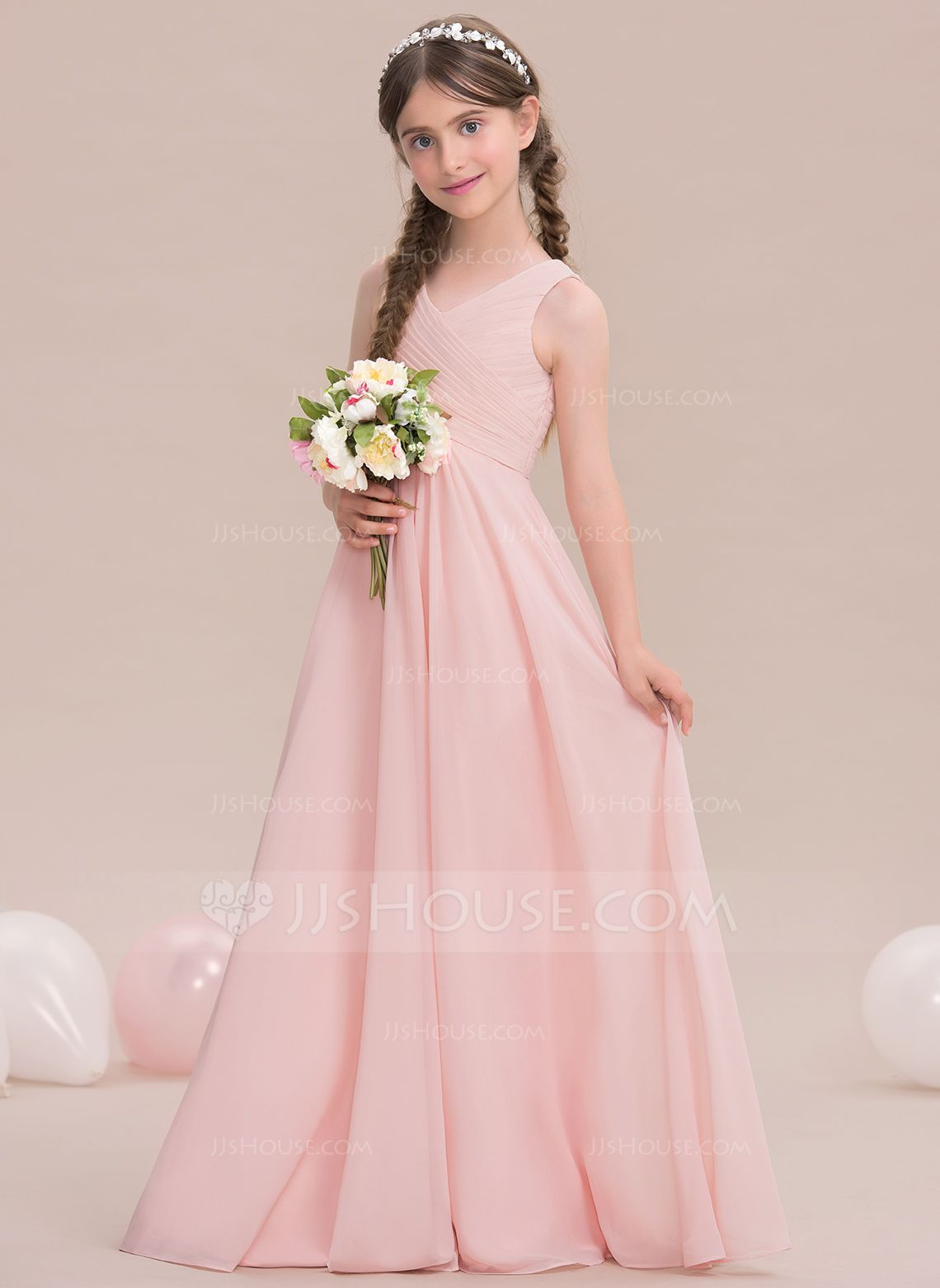A-Line/Princess V-neck Floor-Length Chiffon Junior Bridesmaid Dress ...