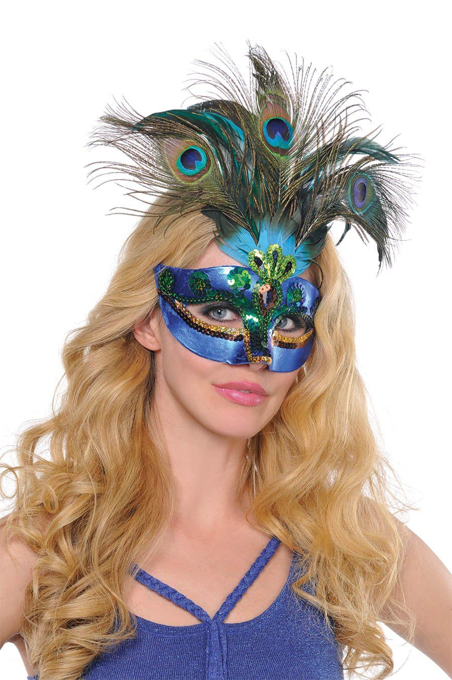 Amazon.com: Amscan Womens Peacock Feather Mask (365712): Clothing ...
