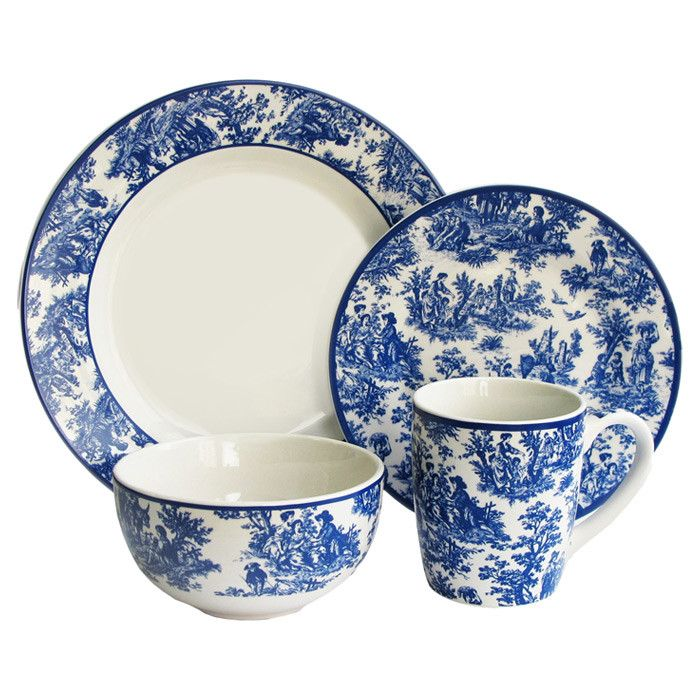 Charming Country Cottage Chic -16 Piece Country Life Dinnerware Set with blue toile motif.  sc 1 st  Pinterest & Charming Country Cottage Chic -16 Piece Country Life Dinnerware ...