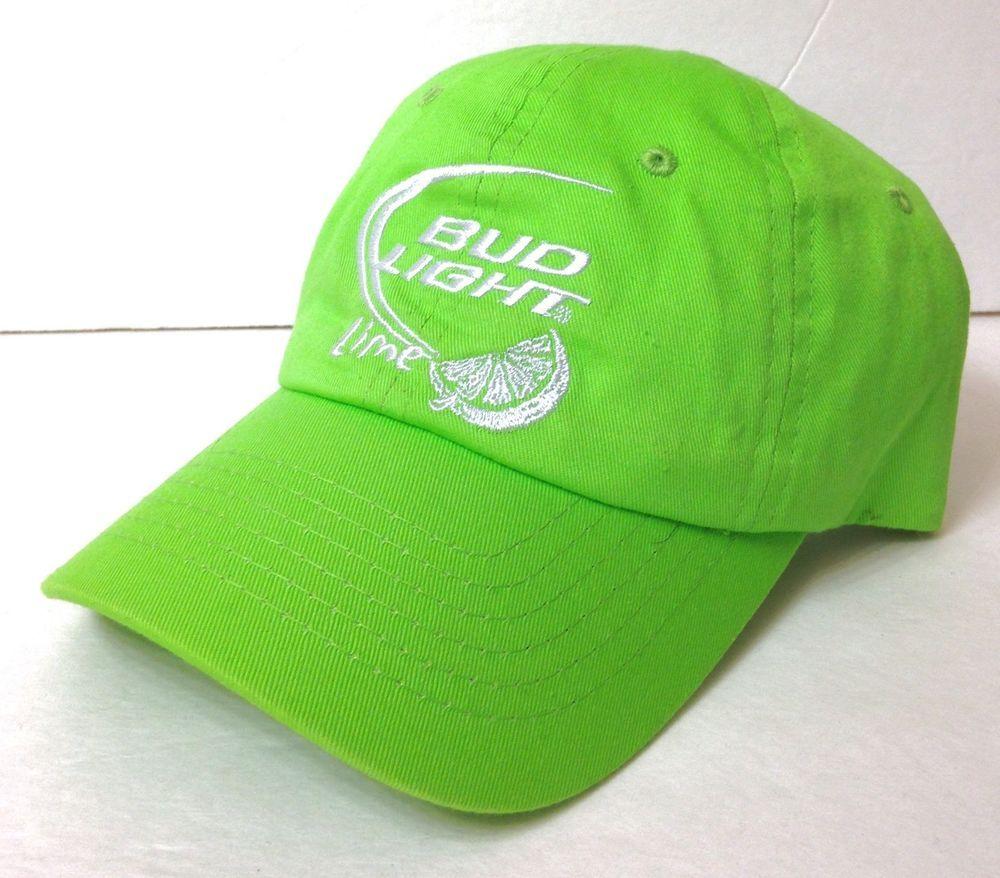 Bud light lime hat bright green white lightweight dad cap