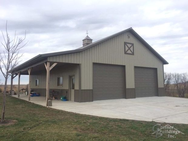 Jake 30 wide x 40 long x 12 tall Metal Garage Workshop with a side porch area 12x40x9GB