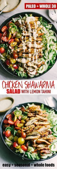 Chicken Shawarma Salad with Tahini Dressing images
